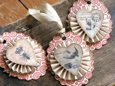 Set of Three Vintage Inspired Holiday VALENTINE Gift Tags Ornaments Victorian Paper Rosettes Red Cream HEARTS