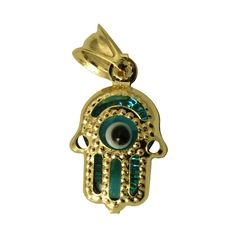 14K Real Yellow Gold Hollow 3D Hand Evil Eye Tiny Charm Pendant Mal De Ojo