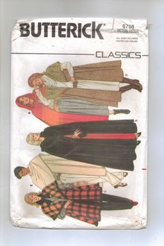 Vintage 80's Cape Pattern Butterick 6796 Three Styles, and lengths    jjandedt - Patterns on ArtFire