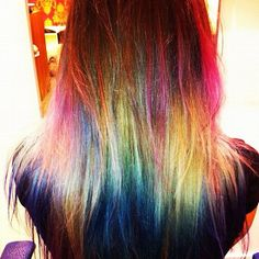 Rainbow hair - awesome bleach London!