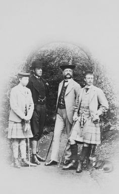 Historical Royal Photography: Prince Leopold, Duke of Albany, the Reverend Robinson Duckworth, Herr Sahl, Robert Collins and the dog, Waldmann; Balmoral | Royal Collectio...