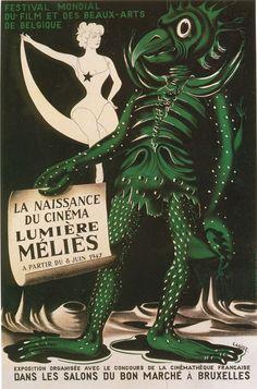 An interesting poster ad for the 1947 Festival Mondial Du Film Et Des Beaux-Arts in Belgium.