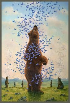Bear and butterflies // This just looks so peaceful.