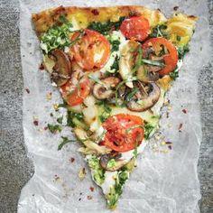 Grilled Pesto Pizza with Chicken, Mozzarella, and Ricotta Recipe