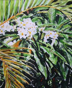"frangipani bermuda / micheal zarowsky  18"" x 14"" watercolour on arches paper / available $450.00"
