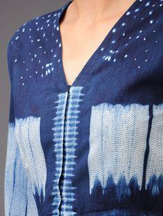 Indigo Floral Shibori-Dyed Cotton Angrakha Kurta - Buy Apparel > Tops & Dresses > Indigo Floral Shibori-Dyed Cotton Angrakha Kurta Online at Jaypore.com