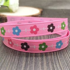 Free shipping 10 yards 3/8'' (9mm) flower printed ribbon pink color Polyester Grosgrain Ribbon DIY hairbows gift wrapping