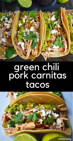 Slow cooker green chili pork carnitas cooked low and slow until nic Pork Carnitas Tacos, Pulled Pork Tacos, Pork Carnitas Recipe, Slow Cooker Pork Carnitas, Mexican Pork Tacos, Shredded Pork Tacos, Slow Cooker Tacos, Pork Tenderloin Recipes, Pork Recipes