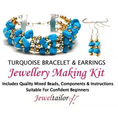 75048e22c6 Turquoise Gemstone Bracelet & Earrings Jewellery Making Kit + FREE Luxury  Gift Bag & Optional Pliers~ A Perfect Gift Or Treat