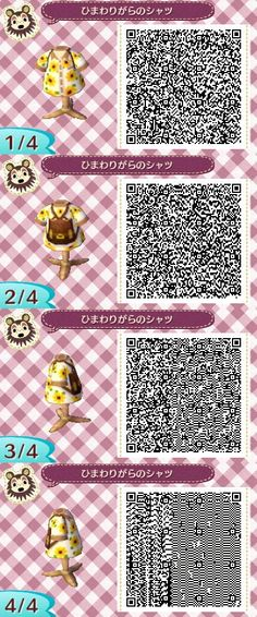 Sunflower Tourist Shirt - Animal Crossing New Leaf QR Code