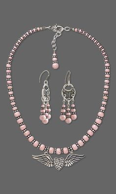 Single-Strand Necklace and Earring Set with Riverstone Gemstone Beads, SWAROVSKI ELEMENTS and Glass Rhinestone and Antiqued Silver-Finished Steel and Pewter Focal