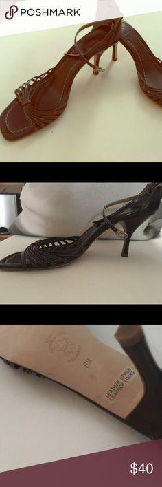 J.Crew chocolate brown ankle strap sandal Never worn, leather, adjustable ankle strap sandal. J. Crew Shoes Sandals