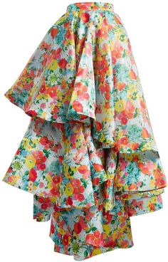 Designer Clothes, Shoes & Bags for Women Multi Coloured Short Dresses, Floral Print Skirt, Floral Prints, Haute Couture Skirts, Tiered Skirts, Culottes, Printed Skirts, Skirt Fashion, Frilly Skirt