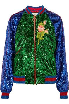 Gucci - Appliquéd Sequined Tulle And Satin Bomber Jacket - Green - IT38