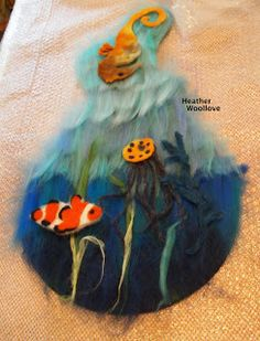 Wool love-functional fiber art: 'Marine Life' Purse For A Pisces- Part 2 of 3