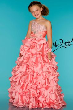 Coral Girls Pageant Dress With Layers of Ruffles