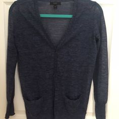 J. Crew linen blend cardigan, blue xxs Excellent condition, worn once. Light, slightly sheet linen blend cardigan. Perfect to throw over a summer dress. Dark blue with some black/dark grey marled. J. Crew Sweaters Cardigans
