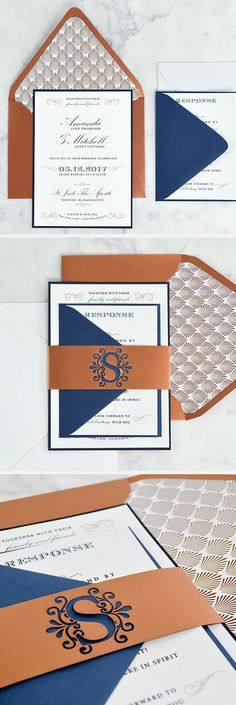 Such an easy DIY wedding invitation! Dark blue and copper, laser cut details, and a Gatsby envelope liner - the perfect suite for an elegant wedding, using a free invitation template. |  http://blog.cardsandpockets.com/2017/04/05/elegant-dark-blue-copper-wedding-invitation/