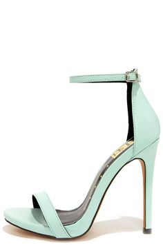 "In pretty pastel, with a versatile design, it's no wonder why we love the Much Adored Mint Ankle Strap Heels so much! Light mint vegan leather constructs a simple toe band and a high-rise heel cup with adjustable ankle strap (and silver buckle). 4.75"" wrapped stiletto heel rests on a single sole. Cushioned insole. Rubber sole has nonskid markings. Available in whole and half sizes. Measurements are for a size 6. All vegan friendly, man made materials."