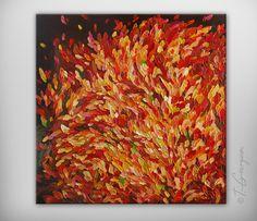 Original painting - Large abstract landscape 'Abstract no.8'  24 x 24 by Tatiana Georgieva. Yellow, orange, red, purple, brown. $250.00, via Etsy.