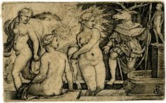 Diana and Actaeon; Diana and two nymphs bathing at a fountain at left; Actaeon with a stag's head at right. c.1533 Engraving