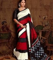 Buy Red Bhagalpuri silk saree with blouse party-wear-saree online