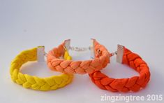 These fun coloured t-shirt yarn bracelets are super chic, easy to make and best of all cheap. The perfect thrifty Summer accessory for kids and adults.