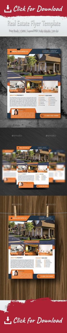 Real Estate Flyer Template 4 Photos Single Sided Pages - home sale flyer template