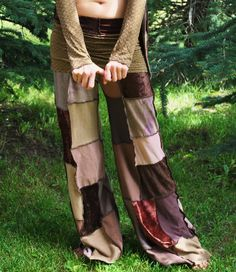 Hippie Pants, -Made for You - Gypsy Pants, Pixie pants, Patchwork Pants, Festival Clothing, Tribal, CosMiC CutiE PaNtS BrowN PatChworK, via Etsy.