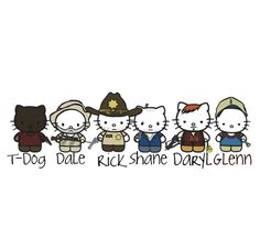The Walking Dead cast as Hello Kitty! I believe these are made by Tracey Gurney Best Tv Shows, Favorite Tv Shows, Favorite Things, Glenn The Walking Dead, Hello Kitty Characters, Talking To The Dead, Miss Kitty, Kitty Kitty, Stuff And Thangs