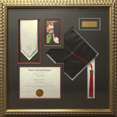 Graduation Over?  We love this way of highlighting your achievement.  Customize this with your special items,  have a class ring? We can add that! What about a class award instead of a diploma?  We can do that!  Visit your Custom Framing Specialists today and turn your special day items into masterpiece.