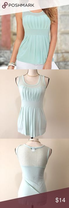 VENUS Pleated Babydoll Tank Top Blouse This adorable babydoll tank top shirt by VENUS is in excellent like new condition.  Might as well be brand new!  Size medium.  Mint green/blue color. Pleated front. VENUS Tops Tank Tops