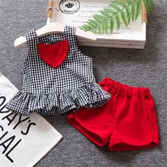 Basacomie (5 sets/lot) Children's Clothing 2018 Girl's Clothing Set Plaid T-shirt & Shorts 2 PCs Summer Sets 033002