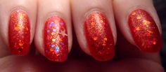 Jelly sandwich of OPI Gettin' Miss Piggy With It between Kleancolor Chunky Holo Scarlet + NYX Girls Dreamy Glitter on accent finger. Click the image for more!