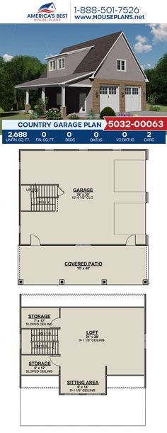 Complete with 2,688 sq. ft., Plan 5032-00063 offers a Country style garage with storage space and a loft. #country #garage #garageplans #architecture #houseplans #housedesign #homedesign #homedesigns #architecturalplans #newconstruction #floorplans #dreamhome #dreamhouseplans #abhouseplans #besthouseplans #newhome #newhouse #homesweethome #buildingahome #buildahome #residentialplans #residentialhome