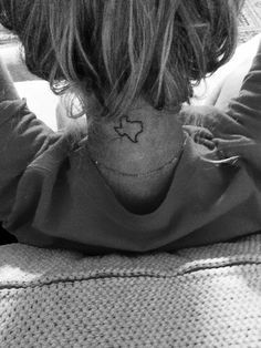 Texas Tattoo on back of neck lone star state southern country
