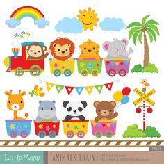 Wild Animals Train Digital Clipart by LittleMoss on Etsy Train Clipart, Zoo Animals, Wild Animals, 2 Baby, Animal Silhouette, Craft Markets, Diy And Crafts, Craft Projects, Felt Projects