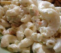 """KAUKAU TIME!--""""Kaukau"""" is a Hawaiian pidgin slang word meaning """"food"""" or """"to eat."""": Basic Hawaiian Macaroni Salad"""