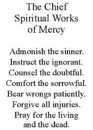 Spiritual Works of Mercy.  But only admonish the sinner if you think they'll listen to you.  Otherwise keep quiet, right?