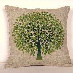 """Envío gratis de alta calidad de lino vintage de impresión cremallera invisible fundas cojines/funda de almohada para sofá de"""" el árbol verde"""" 45*45cm"""