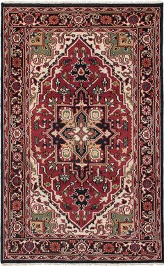 Royal Heriz Hand-Knotted Red Area Rug