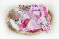 Unicorn Security Blanket, unicorn baby blanket pink unicorn Lovey Blanket, rainbow unicorn, Satin, B Handmade Baby Items, Lovey Blanket, Minky Fabric, Satin Fabric, Security Blanket, Rainbow Unicorn, Little Babies, Baby Toys, Baby Car Seats