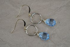 Hoop Link & Pearl, Opalite or Blue Glass Drop Earrings by ForestBeads, $19.99