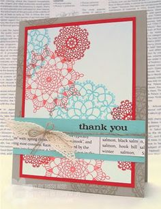Stampin Up Delicate Doilies card - I have some MME doily stamps that could do this!