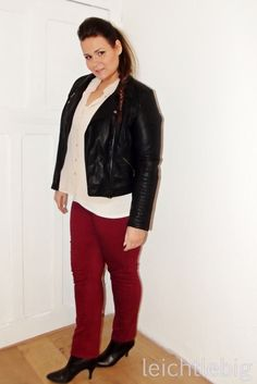 Fashion Show Outfit // Plus Size Party Outfit // Red Jeans // Biker Jacket