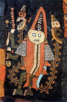 Detail from an elaborate woven and embroidered manto excavated from a mumy bundle in Paracas, Peru. The Paracas figures are often dressed to represent different animals. In ceremonial dance or procession. Ancient Peruvian, Peruvian Art, Nazca Peru, Inchies, Maya, Peruvian Textiles, Arte Tribal, Mesoamerican, Arte Popular