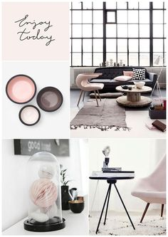 Soft Pink and Black moods. For my living room with dark olive couch.