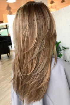 80 Cute Layered Hairstyles and Cuts for Long Hair Long Haircut With V-Cut Layers Long Hair V Cut, Long Length Hair, Layered V Cut Hair, Long Hair Short Layers, Medium Hair Cuts, Medium Hair Styles, Curly Hair Styles, V Cut Layers, Long Layered Haircuts