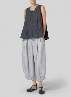 Light-weight Linen Peplum Top Set