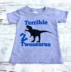 Dinosaur T Shirt/Dinosaurs/Funny T Shirt/Gender Neutral/Funny Kids T Shirt/ Terrible Twosaurus by sunnyvilledesigns on Etsy https://www.etsy.com/listing/532436451/dinosaur-t-shirtdinosaursfunny-t